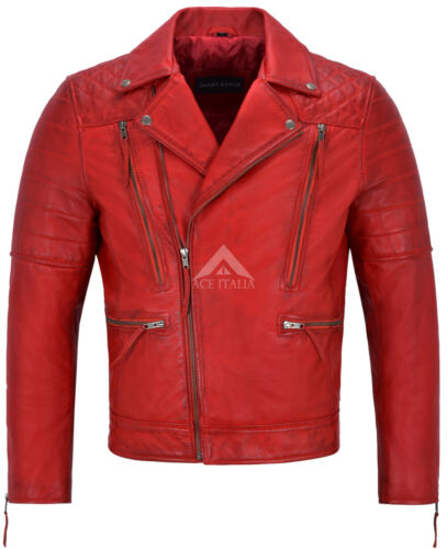 Men Real Leather Jacket Red Napa New Fashion Biker Motorcycle Style 3205