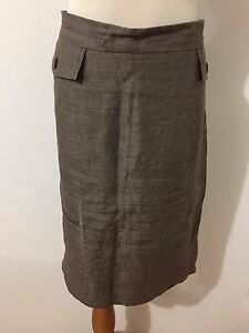 Ann-Taylor-Linen-Blend-Skirt-Brown-Taupe-Size-16