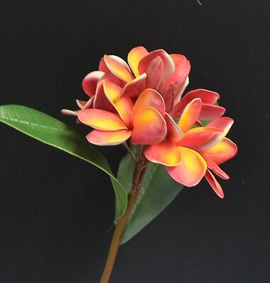 ORANGE YELLOW ARTIFICIAL LATEX REAL TOUCH SILK WEDDING FRANGIPANI FLOWER STEM