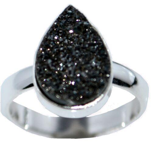 y 925 Sterling Silver Anillo Negro con drusa Druzy de piedras preciosas naturales; Tallas K 5 a 12