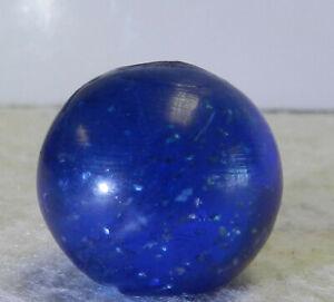 #12739m Bigger .83 Inches German Handmade Blue Glass Mica Marble Near Mint