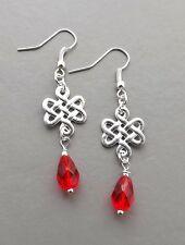 Red glass crystal teardrop earrings . silver tone Celtic knotwork drop jewelry