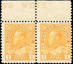 Canada-Mint-NH-1922-F-Pair-Scott-105-1c-Admiral-KGV-Stamps