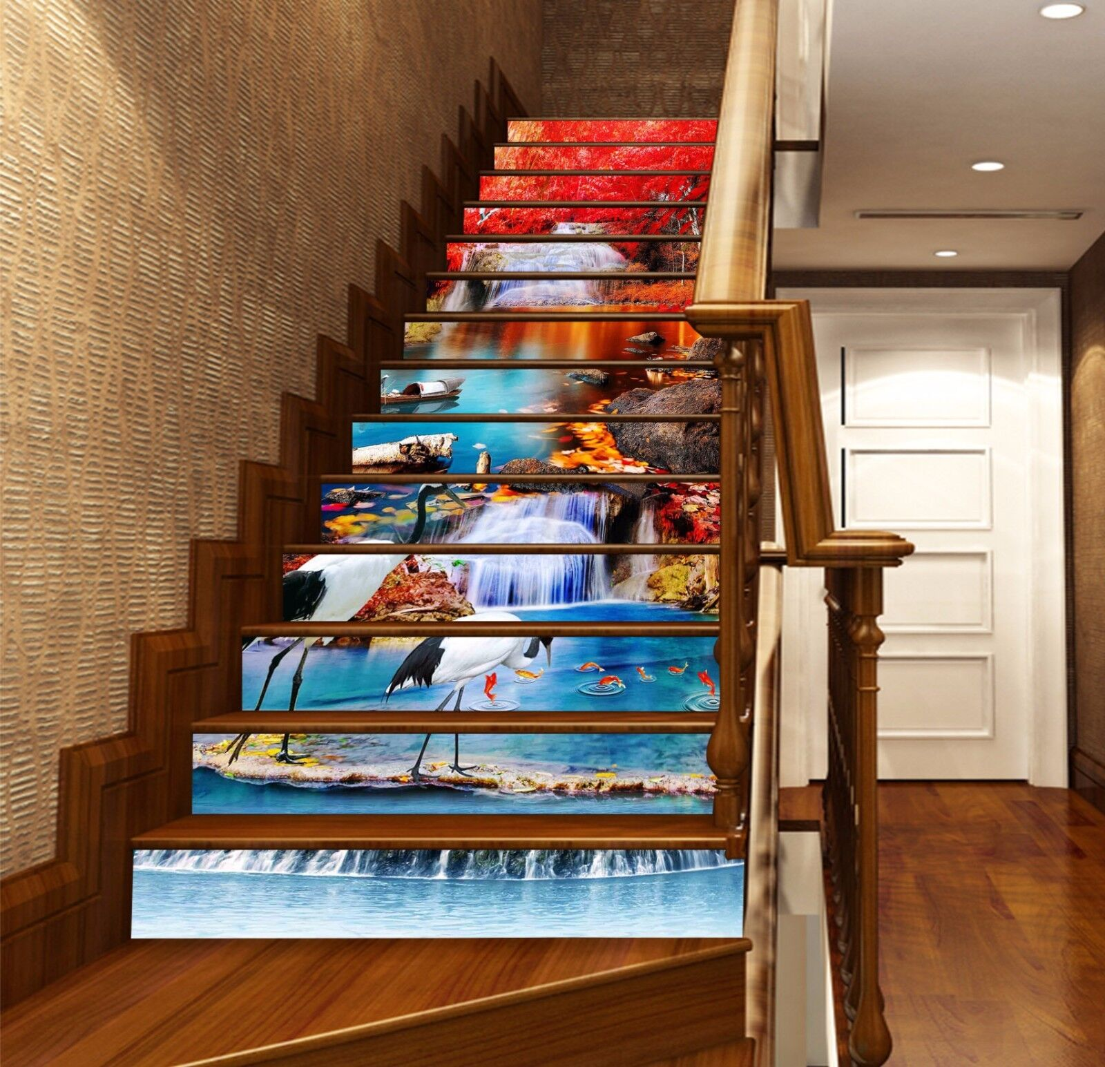 3D Bright Creek 02 Stairs Risers Decoration Photo Mural Vinyl Decal Wallpaper US