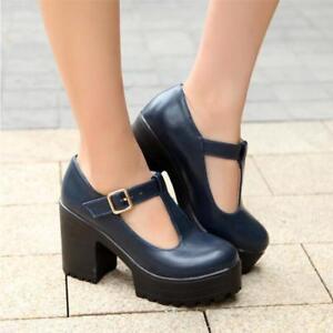 59b1b9a53a Details about Punk Womens Block Heels Platform Pumps Mary Janes Buckle T-Bar  Shoes Pumps U099