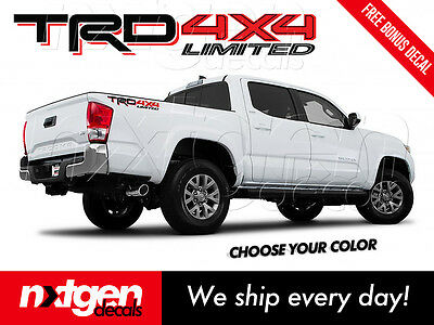 2X TRD 4x4 OFF ROAD Toyota Tacoma Tundra 2016 Vinyl Bed Side Decals Stickers