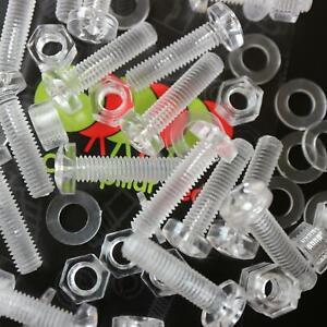 20-x-Acrilico-Bulloni-e-Dadi-M5-x-20mm-in-Plastica-Trasparente-Acrilico-Viti