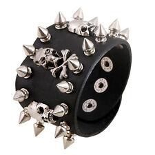 Black Skull Chain Spike Leather Bracelet Cuff Wristband Gothic Biker Rock