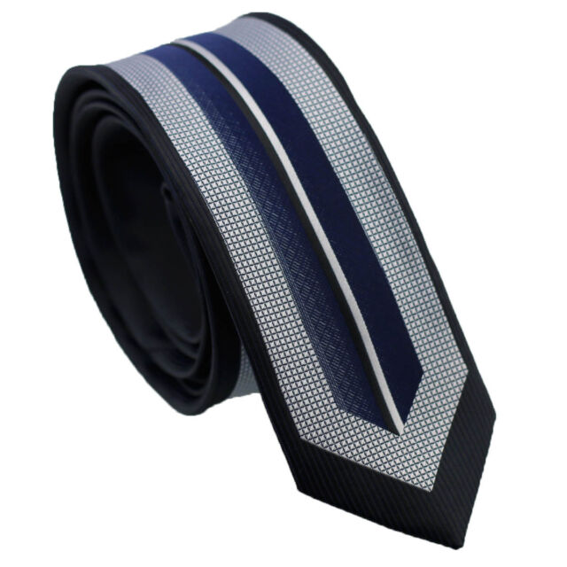 Coachella Ties Navy Blue with Silver Stripe Panel Design Necktie Slim Skinny Tie