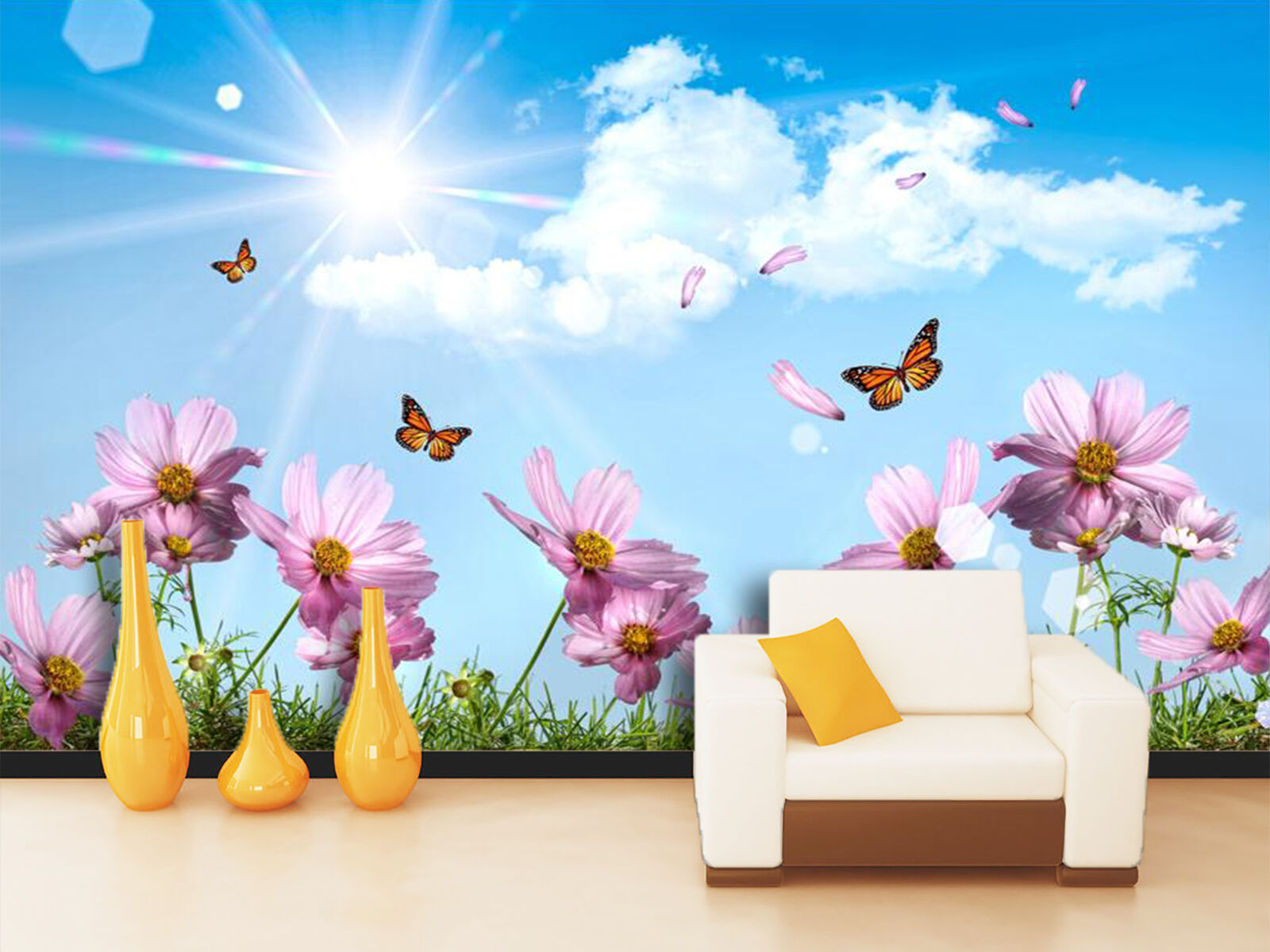 3D Butterfly flower sunny sky Wall Paper Print Decal Wall Deco Indoor wall Mural