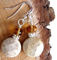 Faceted Petoskey Stone Topaz Amber Cz Glass Bead 925 Silver Kirsten Earrings Usa