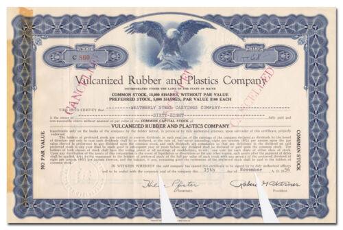 Maine Vulcanized Rubber and Plastics Company Stock Certificate