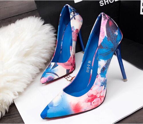 Blau Stilett Pumps Cm Frauensandalen 10 Décollte Ferse Schuhe Blumenmuster Mode xqwRF5Y85