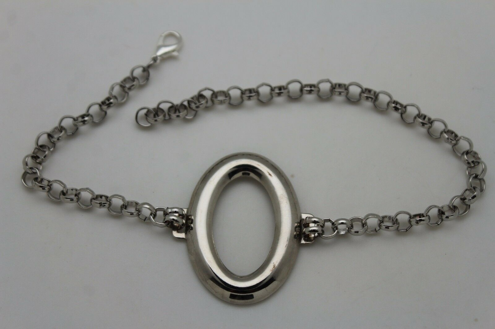 Sexy Women Silver Metal Chain Boot Bracelet Shoe Oval Shape Charm Jewelry Bling
