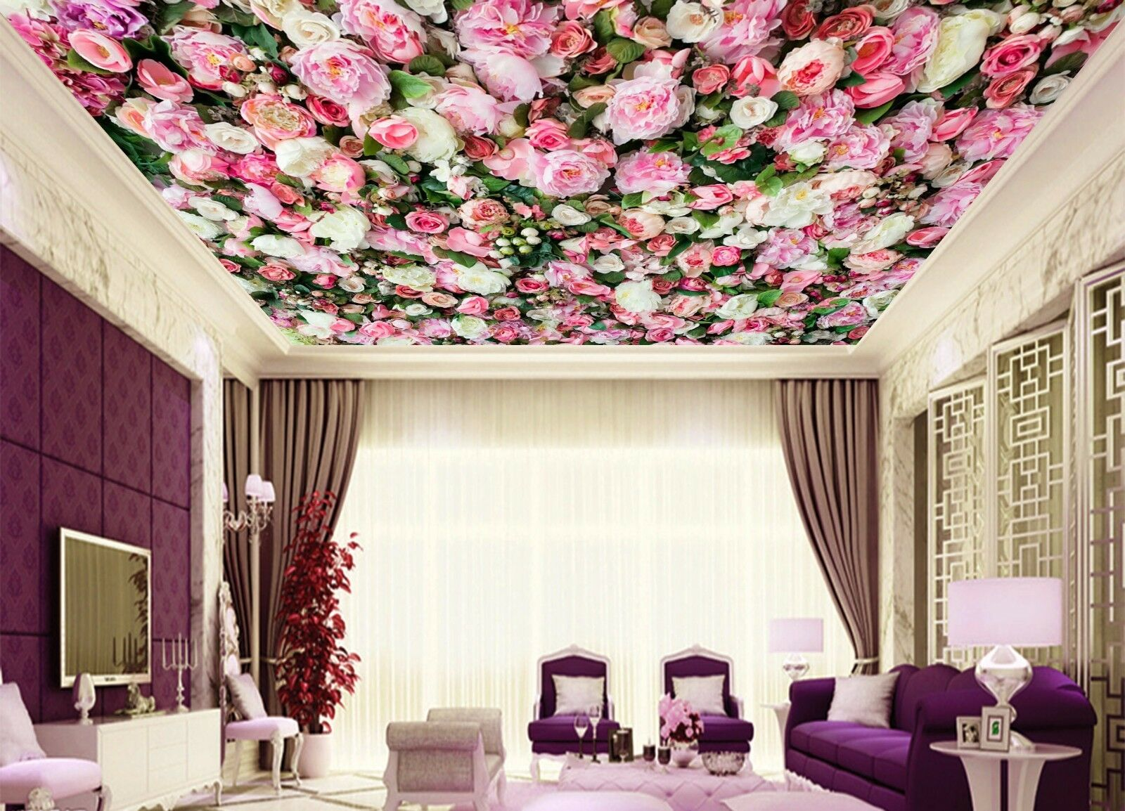 3D Peony Flower 732 Ceiling WallPaper Murals Wall Print Decal Deco AJ WALLPAPER