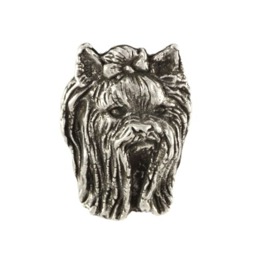 Yorkshire Terrierhead, silver covered pin, high qauality Art Dog CA