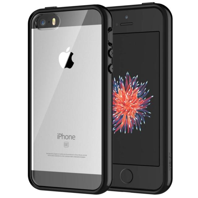 JETech Funda para iPhone SE 5s 5, con amortiguador de choque y antirrayas, Negro