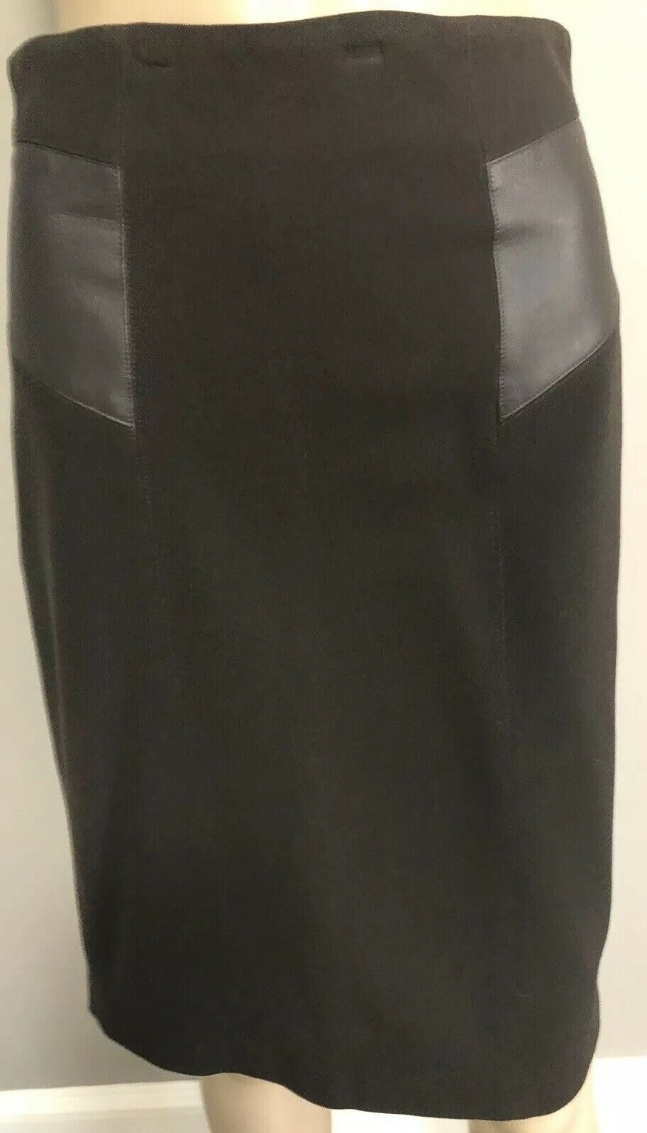 Brown Skirt  with Leather panels by Max Mara sz 2 4