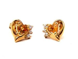 Solid-10K-Yellow-Gold-Genuine-Citrine-Earrings-Hearts