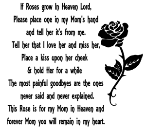 Image Is Loading A Rose For My Mum In Heaven Quote