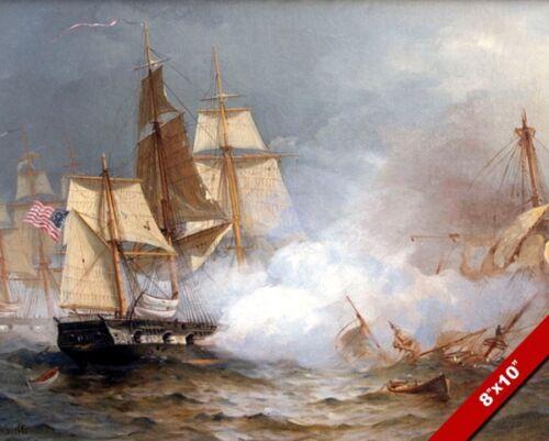 USS UNITED STATES VS HMS MACEDONIAN 1812 WAR US NAVY PAINTING ART CANVAS PRINT