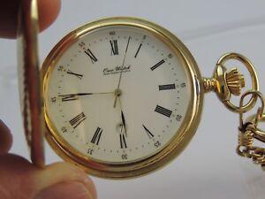 Vintage-Osco-Watch-Taschenuhr-Quartz-mit-Kette-34-cm-Stahlvergoldet