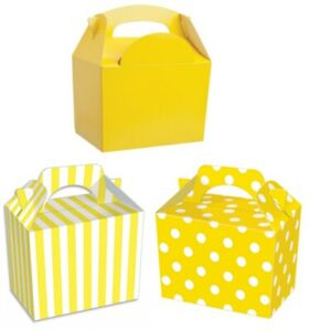 Details About Childrens Yellow Party Food Boxes Birthday Lunch Snack Meal Bag Plate Gift Box