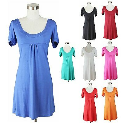 Short Sleeve Solid Dress Scoop Neck Baby Doll Front Gather Long Tunic Top Cute