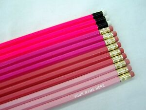 12 hexagon shades of pink personalized pencils ebay