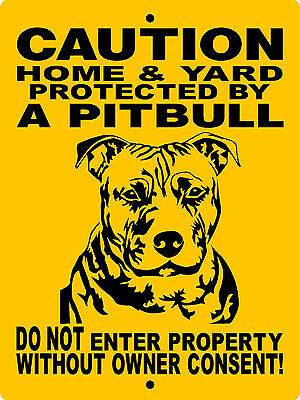 PITBULL DOG SIGN,PIT BULL DOG SIGN,DECAL GUARD DOG SIGN 9x12 ALUMINUM H3292A