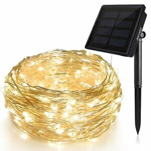 100/200 LED Solar Warm White Copper Wire Outdoor String Fairy Light Waterproof
