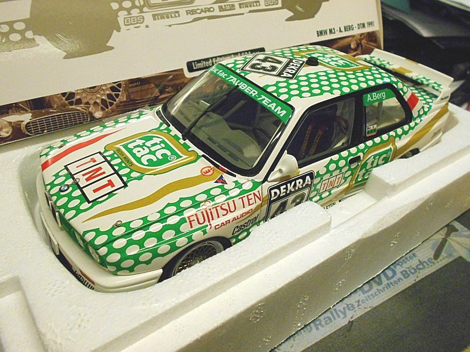 BMW m3 e30 EVO DTM Norisring tic tac 1991 #43 montagne tauber tnt Minichamps 1:18 | Exquis Art