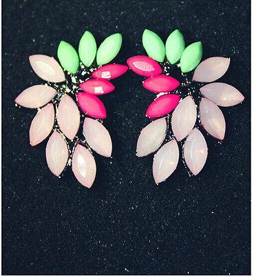 New Fashion Design Charm Colorful Resin Leaf Flower Ear Stud Earrings 1 Pair