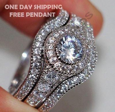 1.75 CT VVS1 Halo Diamond Wedding 3pcs Bridal Ring Set For Women All Size Free
