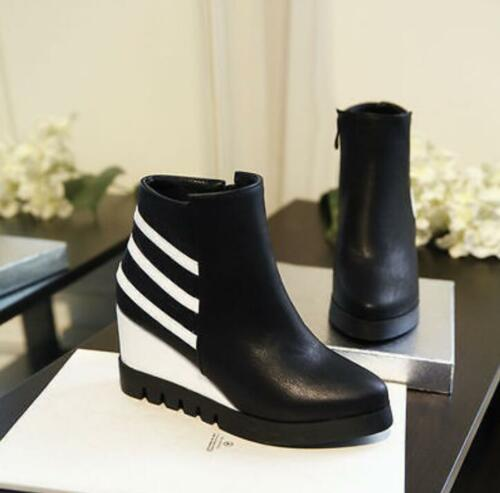 Wedge Heels Womens Side Zipper Pointed Toe Ankle Boots Casual Shoes Plus P729