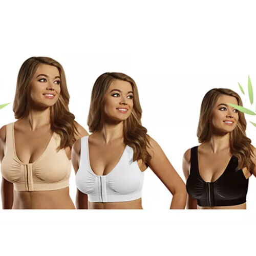 """White Miracle Bamboo 3 Pack Bras Front Closure Black /& Nude 34B 37-40/"""" Bust"""