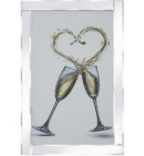 Copas De Champán corazón Splash Marco Espejado Espejo de pared 100x60cm regalo de bodas