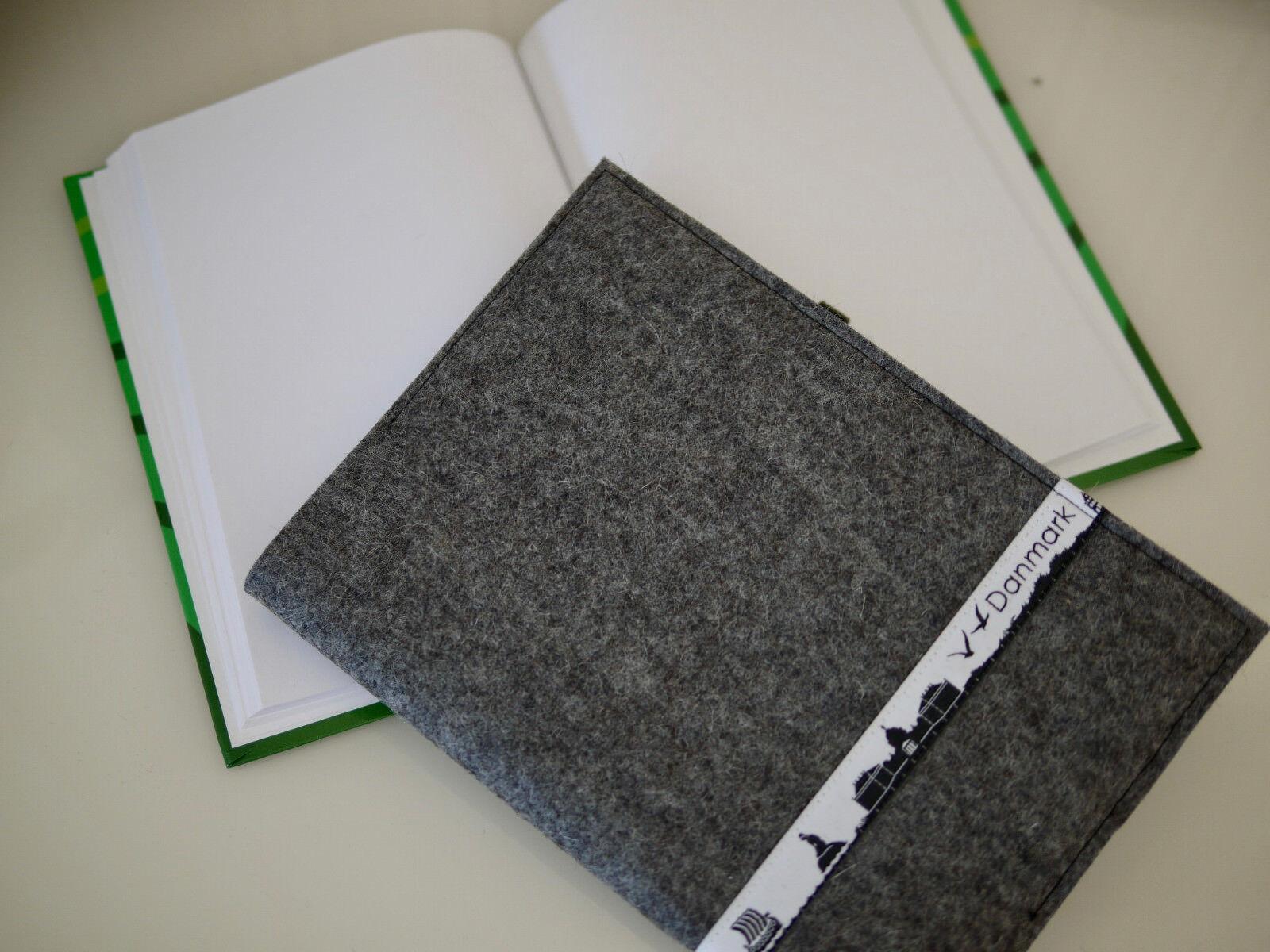 Tütatü Buchhülle + Notizbuch, Reise-Tagebuch, Wollfilz,Skyline DÄNEMARK, Danmark | Einfach zu spielen, freies Leben
