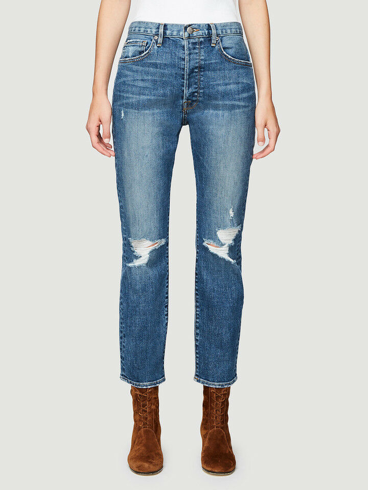 238 NEW FRAME Le Original Distressed High Rise Boyfriend Jeans in Alabama 24