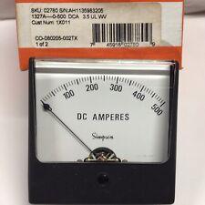 Simpson 1327 Analog Panel Meter Wide Vue 35 Range 0 500 Dc Amperes 02780