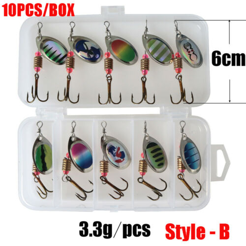 Hook Sequins Spoon Spinner Crank Bait spinnerbait Fishing Lure free with Box