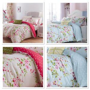 Catherine-Lansfield-firma-Canterbury-Floral-Duvet-cover-set-Rojo-o-Azul