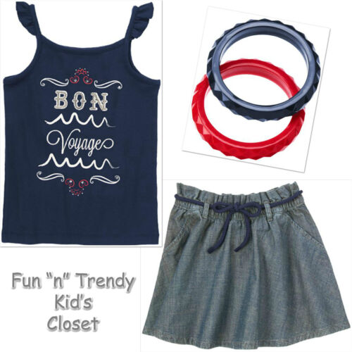 NWT Gymboree PARISIAN AFTERNOON Girls Size 5 6 Skirt Tank Top Bangles OUTFIT SET