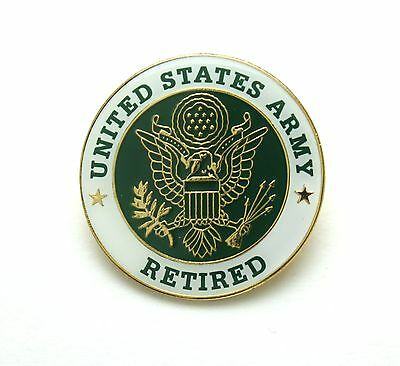"""New Round U.S Army Retired United States Army Retired Hat or Lapel Pin 1"""" Diam."""