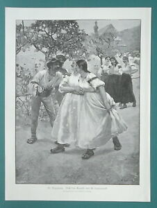 VILLAGE-YOUTH-in-May-Flirting-Girls-Boys-Leave-Church-1892-Victorian-Era-Print