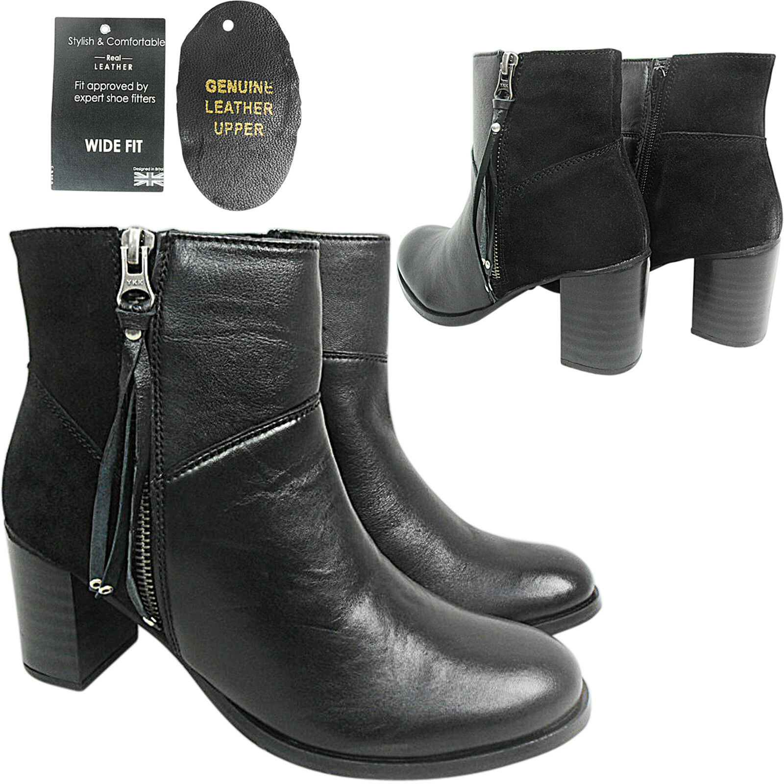WIDE E Ladies Women Mid Block Heel REAL LEATHER Zip Ankle Boot Shoe Size Comfort