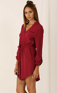 Tie-Waist-Long-Sleeves-Shirt-Dress-L-12-14-Burgundy-Red-Cotton-Beach-V-Neck-Top