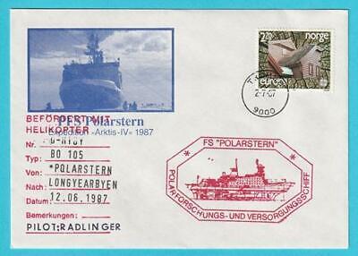 Norwegen Helikopterpost Jahr 12.6.1987 Sonderstempel Fs Polarstern
