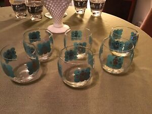 Vintage-Whiskey-Rock-Glasses-Set-Of-6-Blue-And-Gold