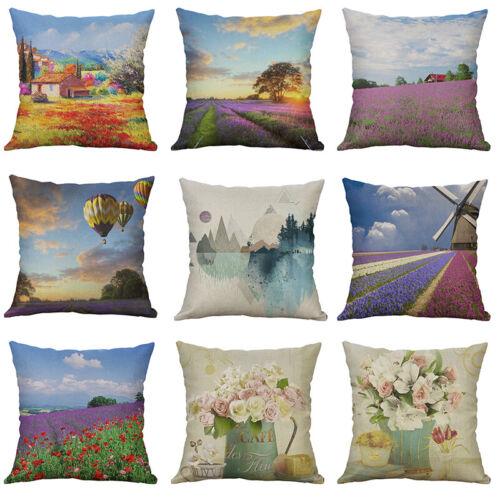 Printing sea of flowers balloo Cotton Linen Pillow Case Cushion Cover Home Decor